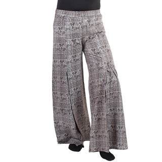 Women's Cotton Native Print Hippie Boho Wide Bottom Slit Palazzo Pants (Nepal)