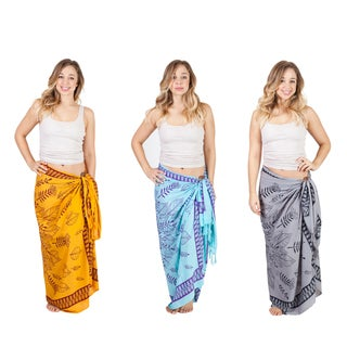 Handmade 'Om' Lotus Print Beach Cover Up Sarong (Indonesia)
