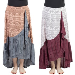 Handmade Elephant Print Gypsy Hippie Dancer Skirt (Nepal)