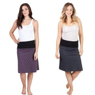 Handmade 'Om' Print A-line Stretch Skirt (Nepal)
