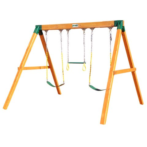 Gorilla Playsets Free Standing Wooden Swing Set with 2 Swing Belts and Trapeze Bar - 10 ft W x 8.5 ft D x 7.5 ft H