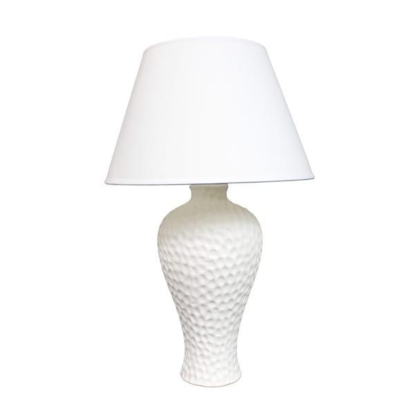 Textured Stucco Curvy Ceramic Table Lamp, White