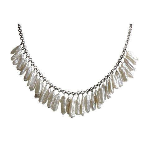 Biwa White Pearl on Sterling Silver Silver Link Chain Jewelry Set