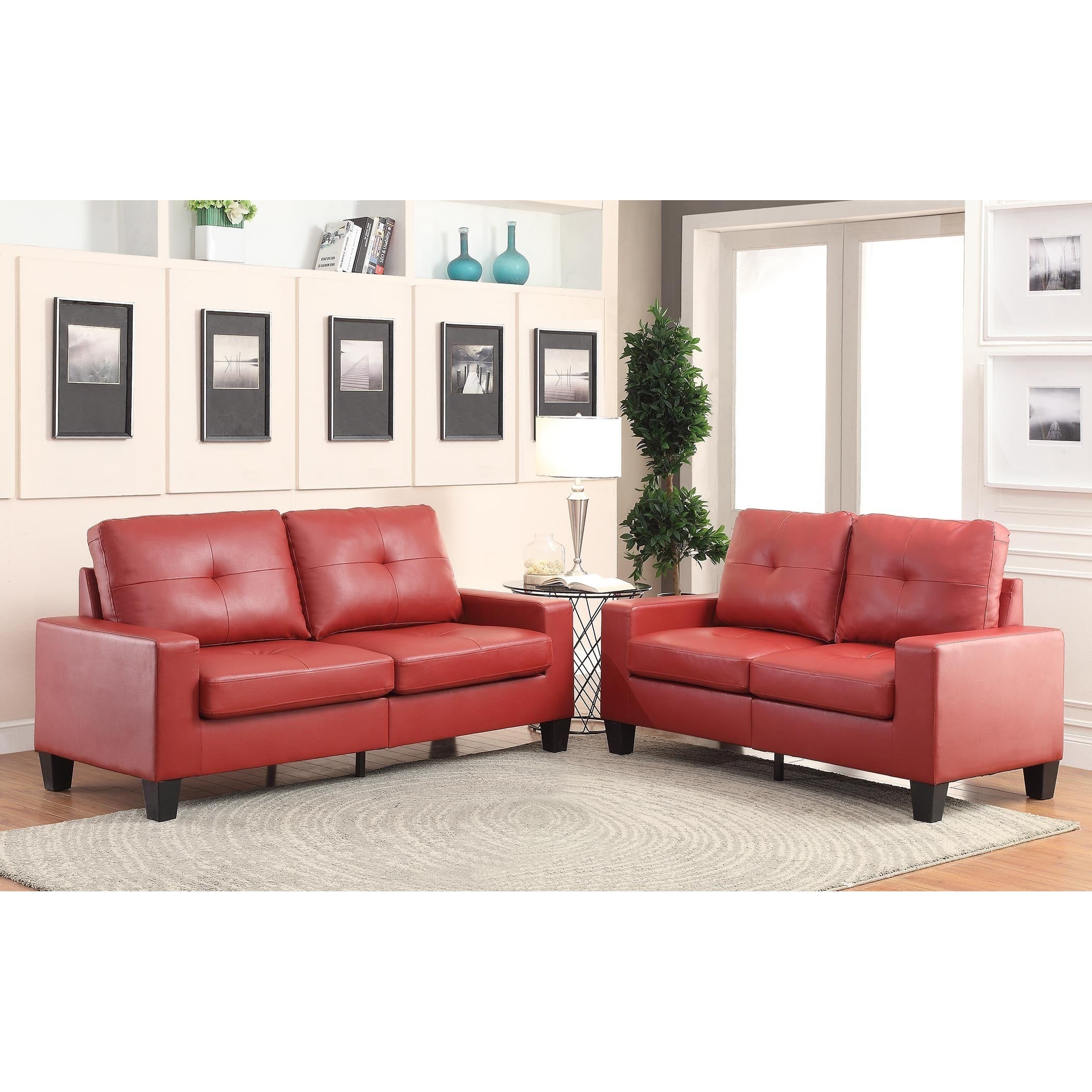 Acme Furniture Platinum II Sofa And Loveseat Living Room Set (Option: Red)
