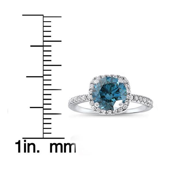 Solid 14K White Gold Vintage Solitaire Accent Wedding Engagement Ring Bridal 1.00 Carat Princess Cut Round Blue Sapphire cz Accent