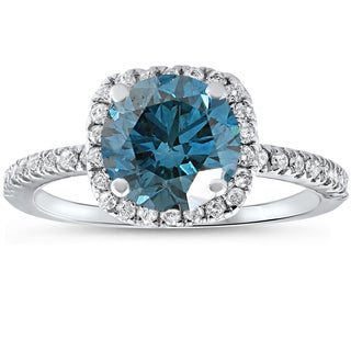 14k White Gold 1 3/4 ct TDW Blue Diamond Cushion Halo Engagement Ring With Accents )