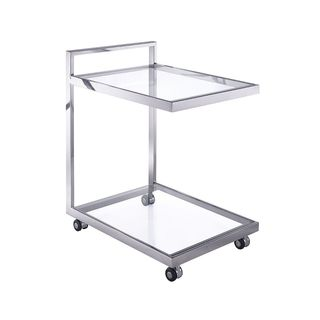 Whiteline Contemporary Modern Sandra Glass Side Table/End Table & Bar Cart