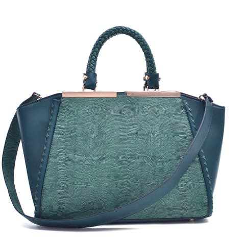 Dasein Two Tone Winged Satchel Bag