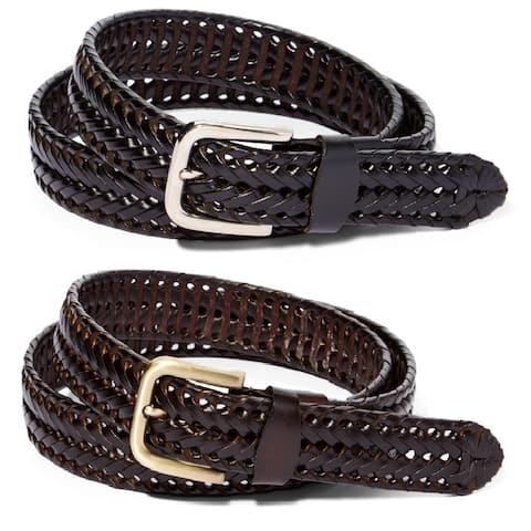 Braided Leather Dress Belt