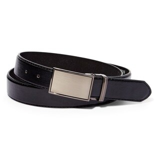 E.M.P Men's Black Leather Belt with Steel Magnetic Frame