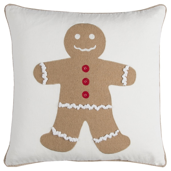 Rizzy Home Gingerbread Man Ivory Cotton 20-inch x 20-inch Decorative Filled Throw Pillow
