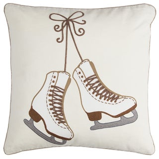 Rizzy Home Ivory Ice Skates Cotton Decorative Throw Pillow (20 x 20)