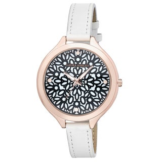 Laura Ashley White Slim Band Geo Pattern Dial Watch