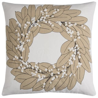 Rizzy Home Ivory Cotton Wreath Decorative Throw Pillow