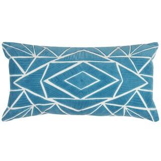 Rizzy Home Peacock Blue Cotton Geometric Throw Pillow