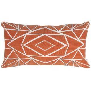 Rizzy Home Orange Geometric Print Cotton 14 x 26 Decorative Throw Pillow