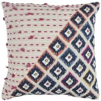 Rizzy Home Geometric Natural Cotton 20-inch x 20-inch Decorative Filled Throw Pillow