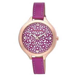 Laura Ashley Pink and Rose Gold Slim Band Geo Pattern Dial Watch