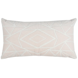 Rizzy Home Geometric Pink Cotton 14-inch x 26-inch Throw Pillow