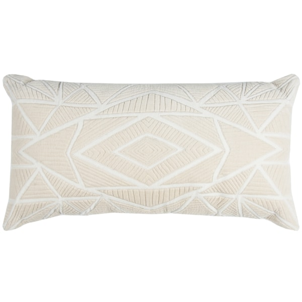 Rizzy Home Geometric Beige Cotton 14-inch x 26-inch Throw Pillow
