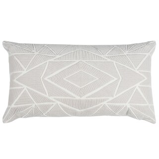 Rizzy Home Grey Cotton Geometric Throw Pillow (As Is Item)