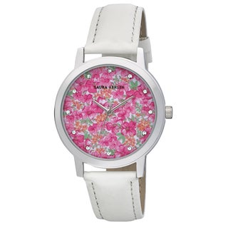 Laura Ashley Ladies White Band Flower Print Dial Watch