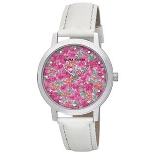 Laura Ashley Ladies White Band Flower Print Dial Watch