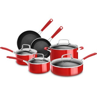 KitchenAid Aluminum Nonstick 10-Piece Cookware Set in Empire Red