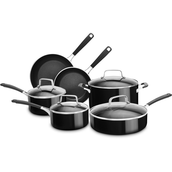 KitchenAid Aluminum Nonstick 10-Piece Cookware Set in Onyx Black