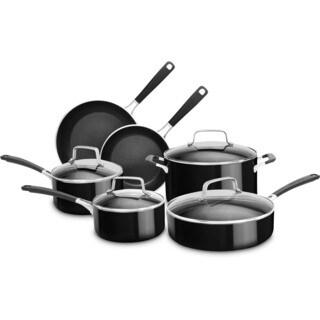 KitchenAid Aluminum Nonstick 10-Piece Cookware Set in Onyx Black