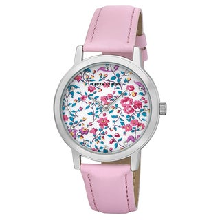 Laura Ashley Women's Pink Band Flower Print Dial Stainless Steel Watch