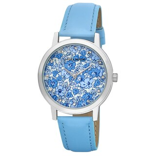 Laura Ashley Ladies Blue Polyurethane/Metal Flower Print Dial Watch