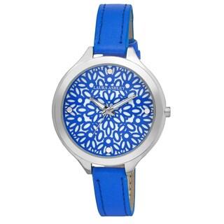Laura Ashley Women's Blue Geo Pattern Slim Band Dial Watch