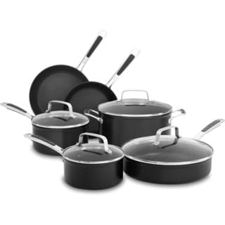 KitchenAid Hard Anodized Nonstick 10-Piece Cookware Set in Midnight Black