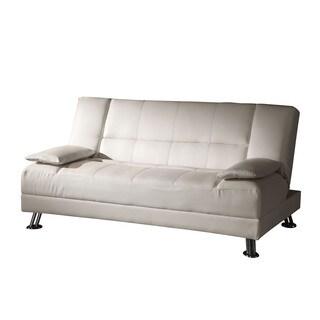 Acme Furniture Fae Adjustable Futon with 2 Pillows, White PU