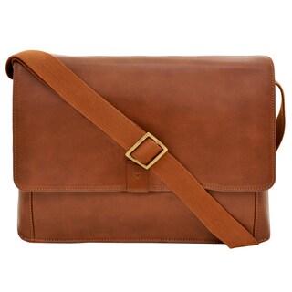 Hidesign Aiden 03 Tan Leather Horizontal Messenger Bag