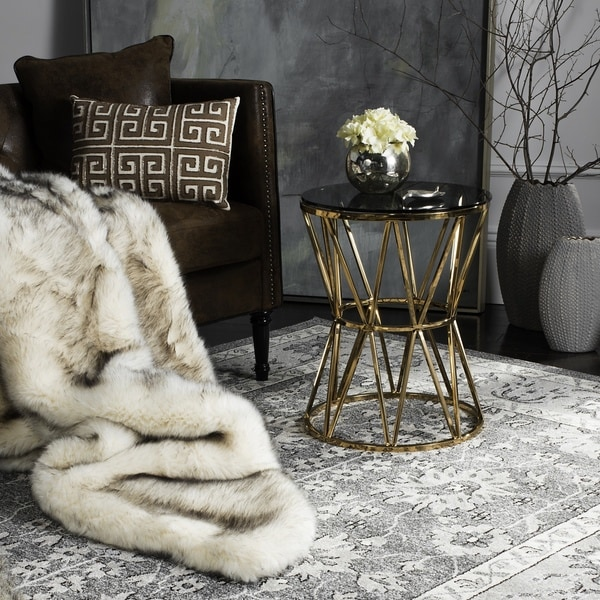 Safavieh Couture High Line Collection Delsy Glass Top Gold End Table