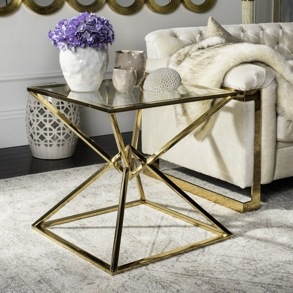 Shop Safavieh Couture High Line Collection Fiorella Glass Top Brass