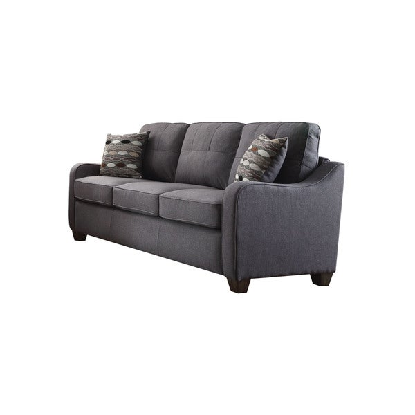 Acme Furniture Cleavon II Grey Linen Sofa With Throw Pillows