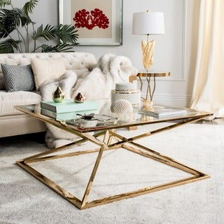 Safavieh Couture High Line Collection Fiorella Glass Top Brass Coffee Table