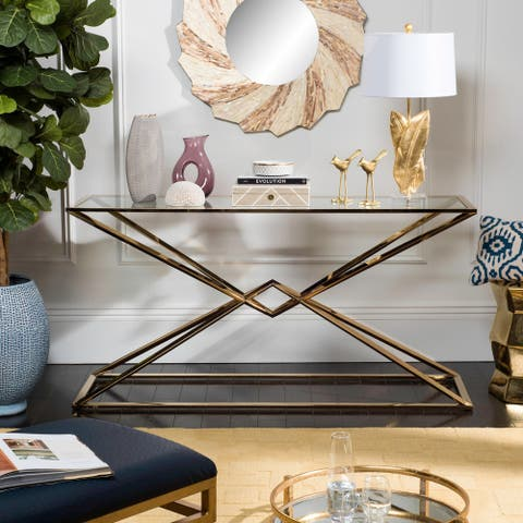 Safavieh Couture High Line Collection Fiorella Glass Top Brass Console Table