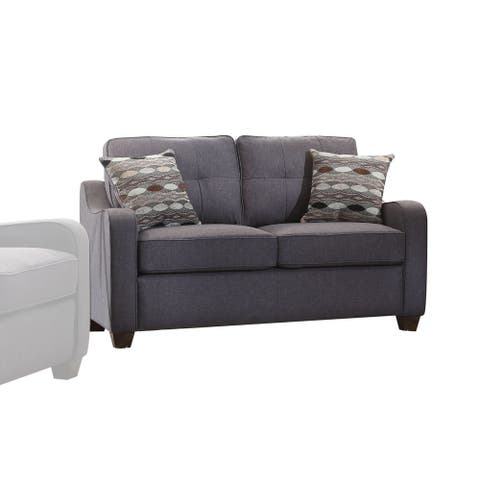 Acme Furniture Cleavon II Grey Linen Loveseat with 2 Pillows