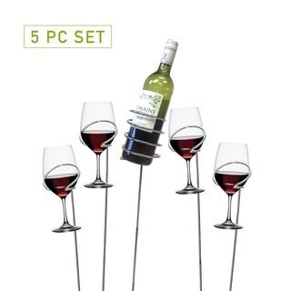 Mind Reader ' Picnic' wine bottle and glass holder sticks,  5 pc set