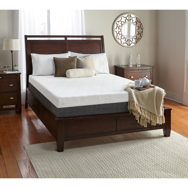 shop white by sarah peyton select a side 10 inch full size memory foam mattress free shipping. Black Bedroom Furniture Sets. Home Design Ideas