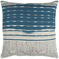 Rizzy Home Natural Abstract Stripe Blue and Off-white Cotton 22-inch Square Throw Pillow