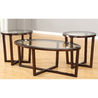 Simmons Casegoods Cherry-finish Hardwood and Glass 3-piece Table Set