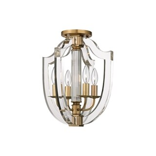 Hudson Valley Arietta 4-light Aged Brass Semi-Flush