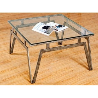 Simmons Taupe Silver Metal and Glass Cocktail Table