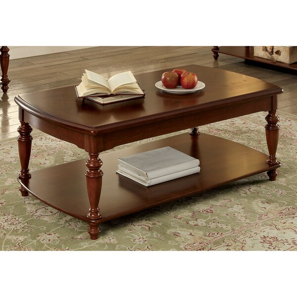 Beautiful Furniture Of America Remmy Classic Open Shelf Turned Walnut Coffee Table