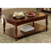 Furniture of America Remmy Classic Open Shelf Turned Walnut Coffee Table